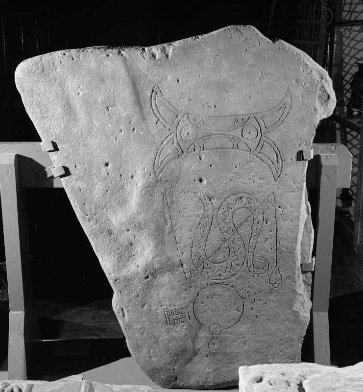 VView of Dunrobin no. 2 Pictish symbol stone, Golspie, in Dunrobin Castle Museum.