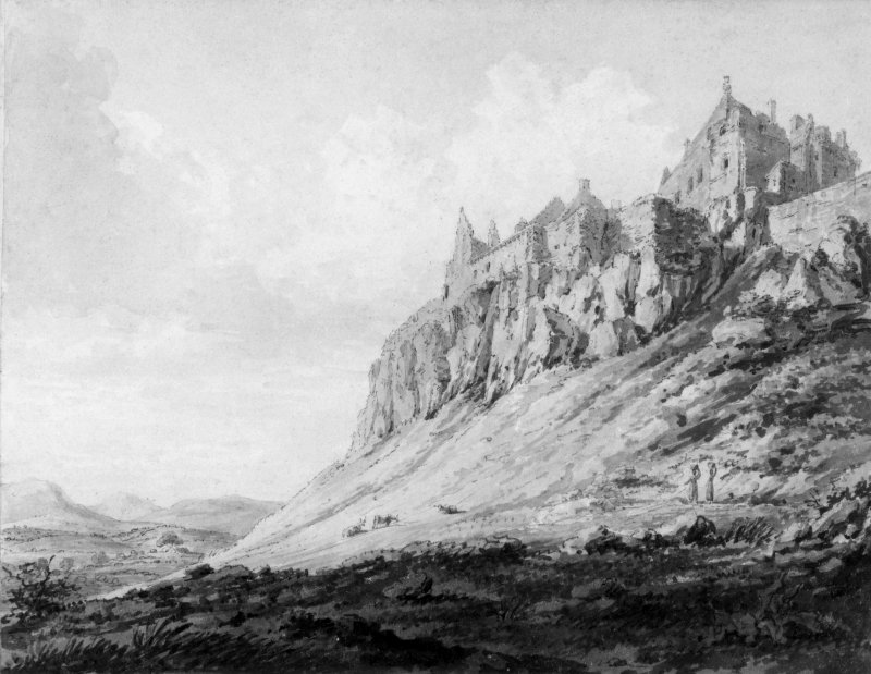 Photographic copy of watercolour of view from SW foot of hill.