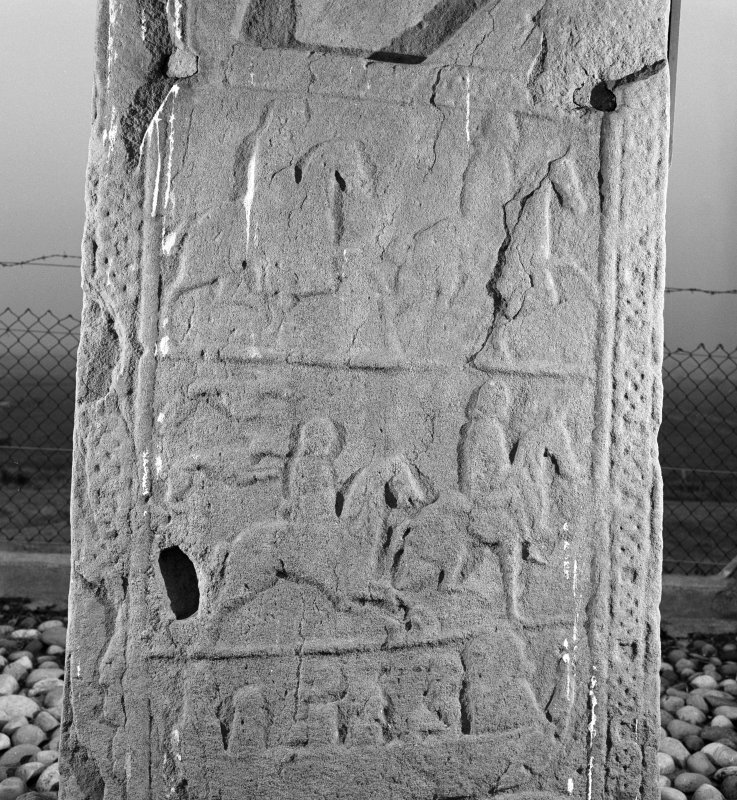 Back detail of St Orland's stone Pictish cross slab.