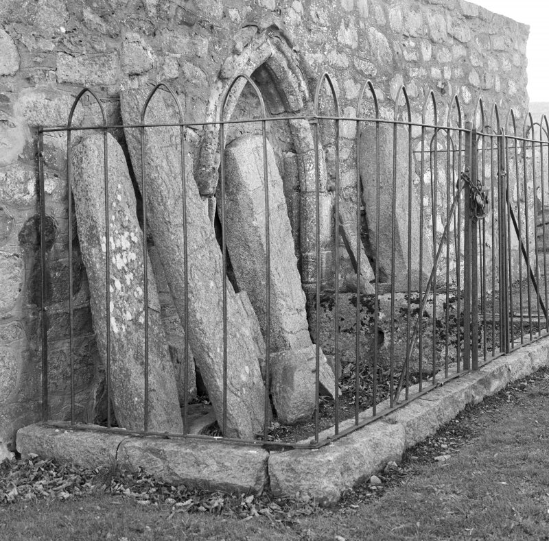 View of sculptured stones in railed enclosure, St Nathalan's Kirk, Tullich.