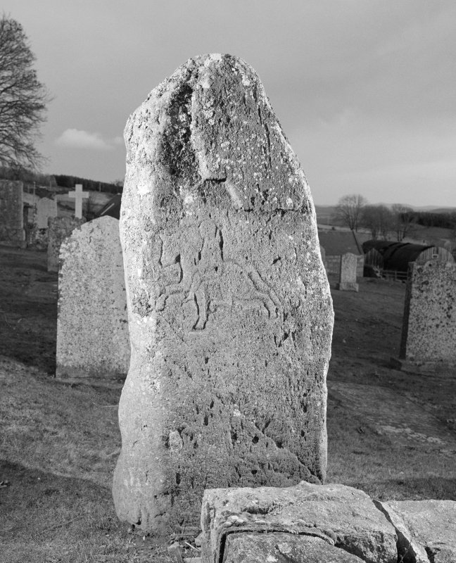 View of reverse of Migvie Pictish cross slab.