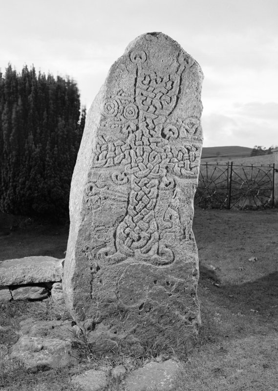 View of face of Migvie Pictish cross slab.