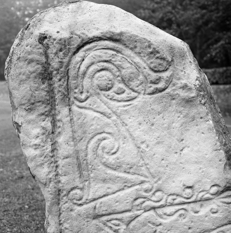 Front detail of Dunnichen Pictish symbol stone.