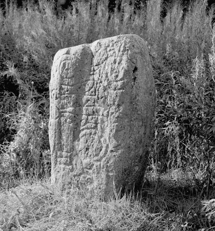 View of face of Keith Hall Pictish symbol stone.