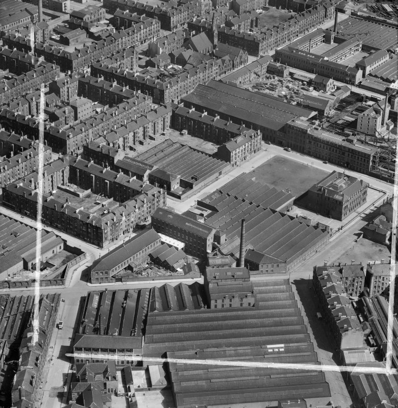 Bridgeton, Glasgow, Lanarkshire, Scotland, 1952. Oblique aerial photograph taken facing East .