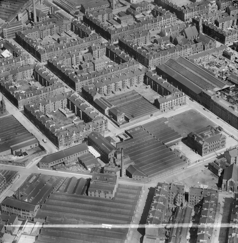 Bridgeton, Glasgow, Lanarkshire, Scotland, 1952. Oblique aerial photograph taken facing North/East .