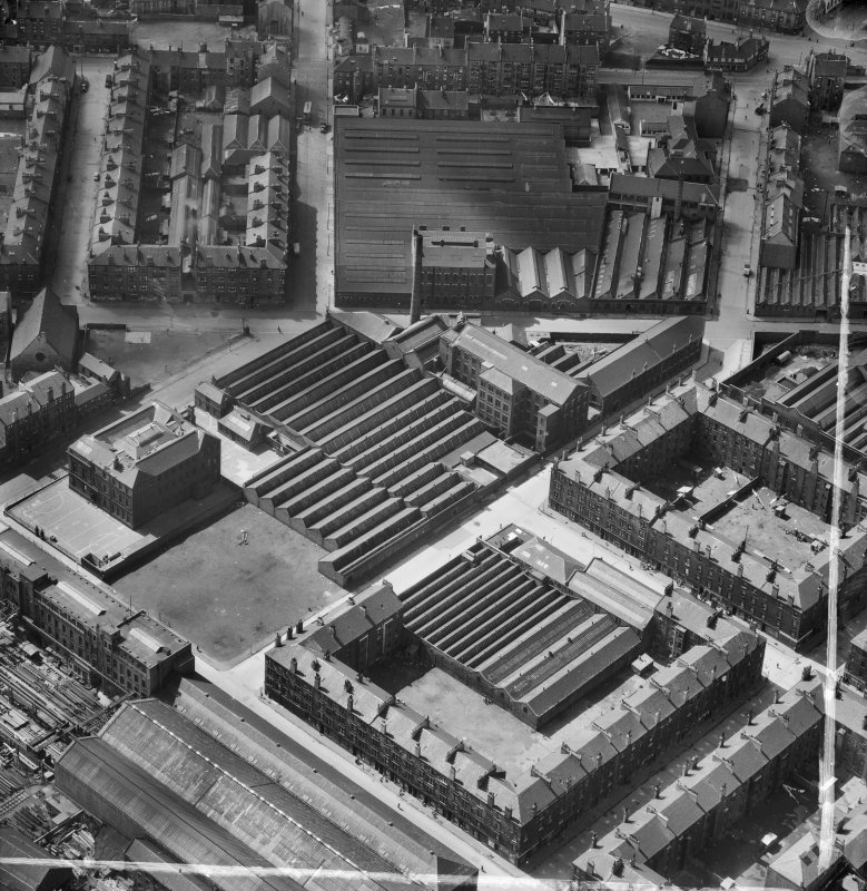 Bridgeton, Glasgow, Lanarkshire, Scotland, 1952. Oblique aerial photograph taken facing West .