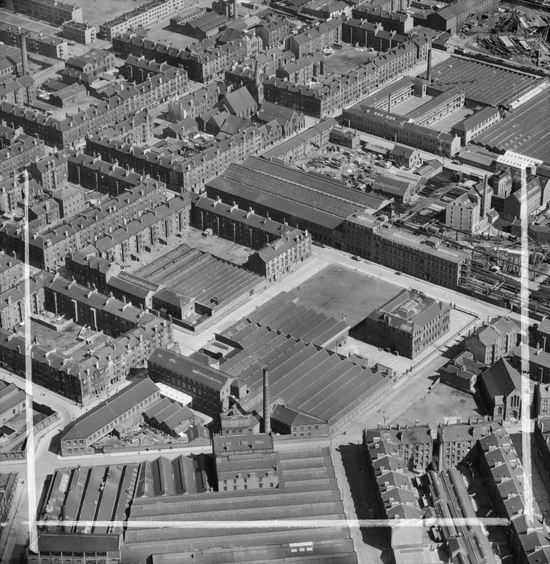 Bridgeton, Glasgow, Lanarkshire, Scotland, 1952. Oblique aerial photograph taken facing North/East.