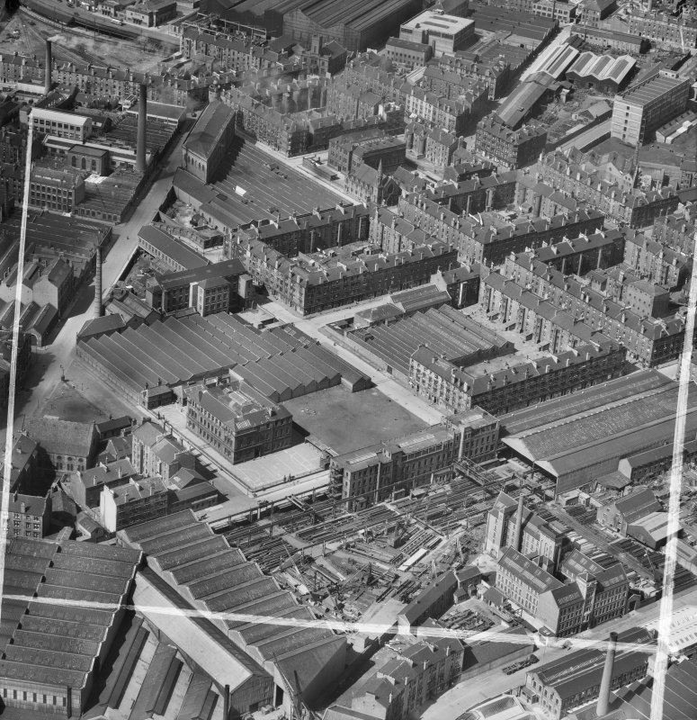 Bridgeton, Glasgow, Lanarkshire, Scotland, 1952. Oblique aerial photograph taken facing North/West.
