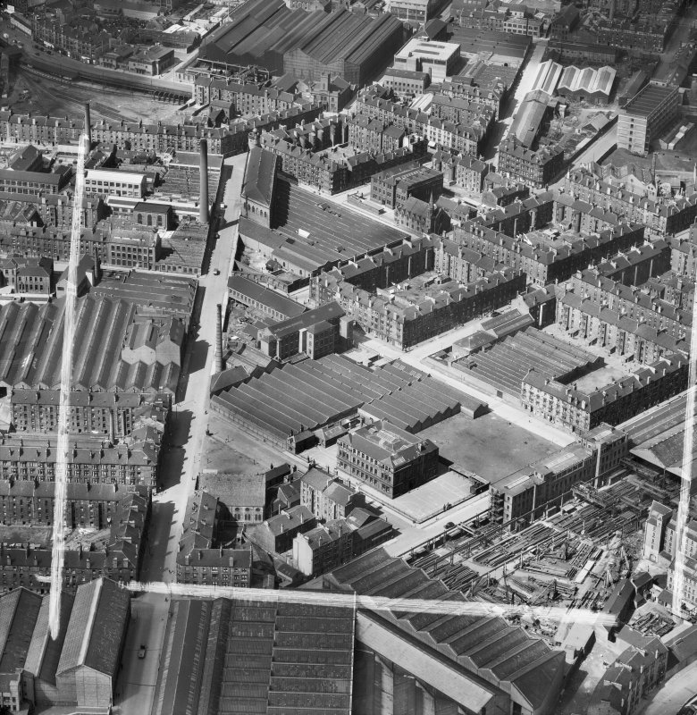 Bridgeton, Glasgow, Lanarkshire, Scotland, 1952. Oblique aerial photograph taken facing North/West .