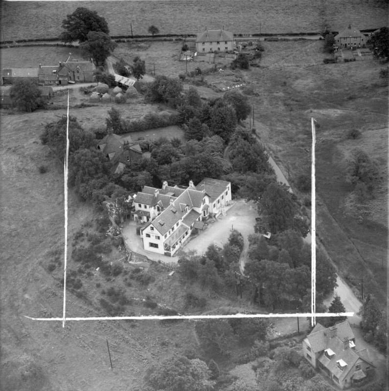 """""Covenanters Inn"""", Aberfoyle, Perthshire, Scotland, 1953. Oblique aerial photograph taken facing East . This image was marked by Aerofilms Ltd for photo editing."