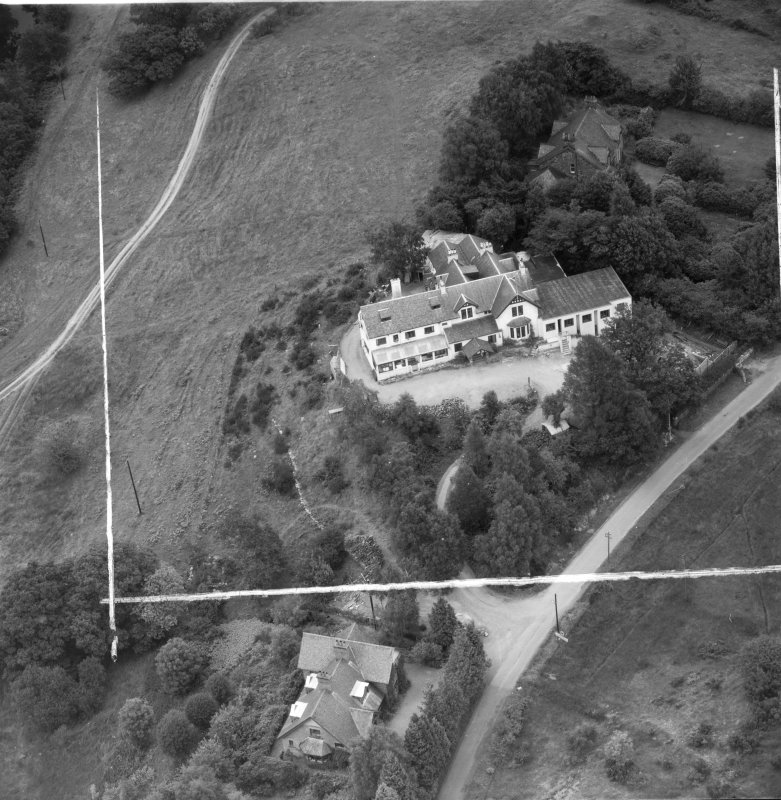 """""Covenanters Inn"""", Aberfoyle, Perthshire, Scotland, 1953. Oblique aerial photograph taken facing North/East. This image was marked by Aerofilms Ltd for photo editing."
