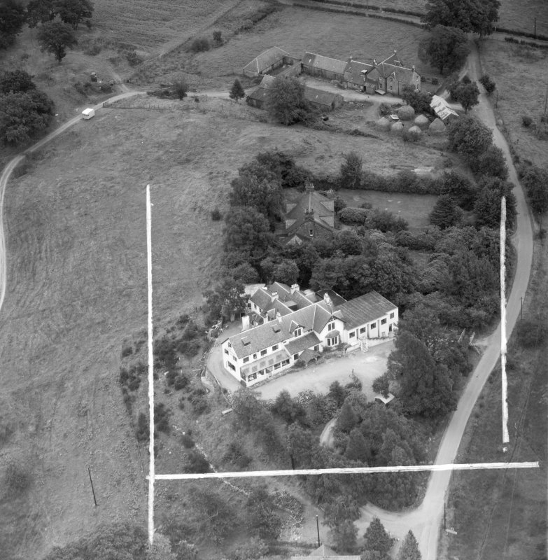 """""Covenanters Inn"""", Aberfoyle, Perthshire, Scotland, 1953. Oblique aerial photograph taken facing East. This image was marked by Aerofilms Ltd for photo editing."