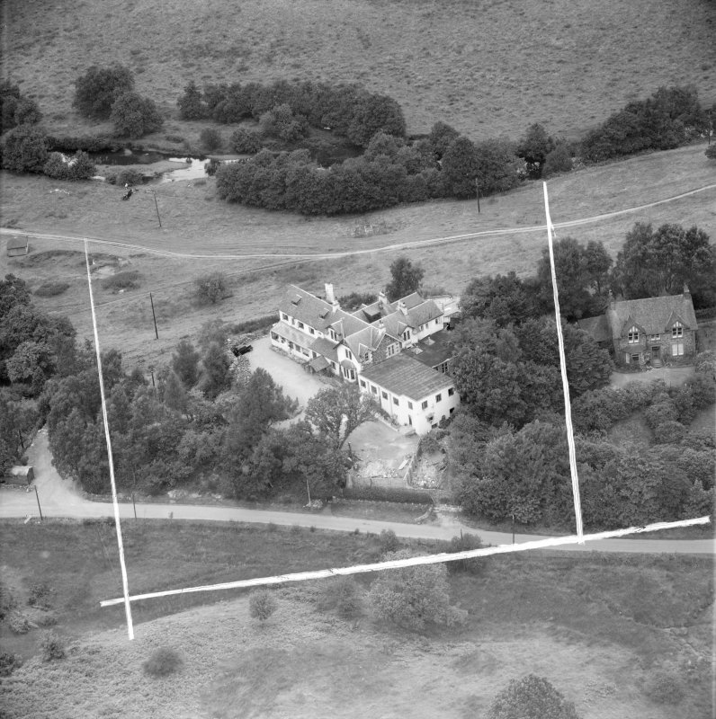 """""Covenanters Inn"""", Aberfoyle, Perthshire, Scotland, 1953. Oblique aerial photograph taken facing North. This image was marked by Aerofilms Ltd for photo editing."