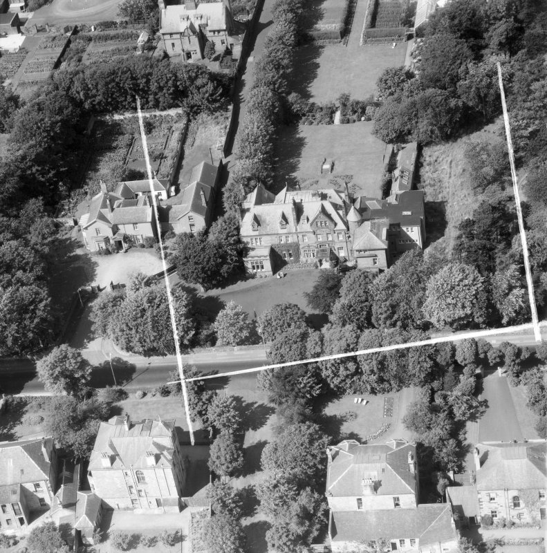 Savoy Park Hotel Ltd, Ayr, Ayrshire, Scotland, 1953. Oblique aerial photograph taken facing South. This image was marked by Aerofilms Ltd for photo editing.