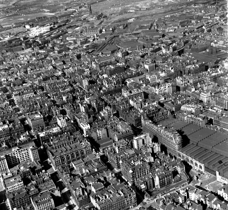 Hope Street and Renfield Street Glasgow, Lanarkshire, Scotland. Oblique aerial photograph taken facing North/East.