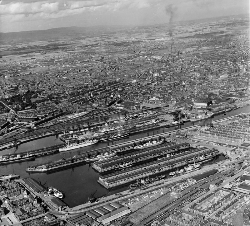 The Docks Glasgow, Lanarkshire, Scotland. Oblique aerial photograph taken facing North/East.