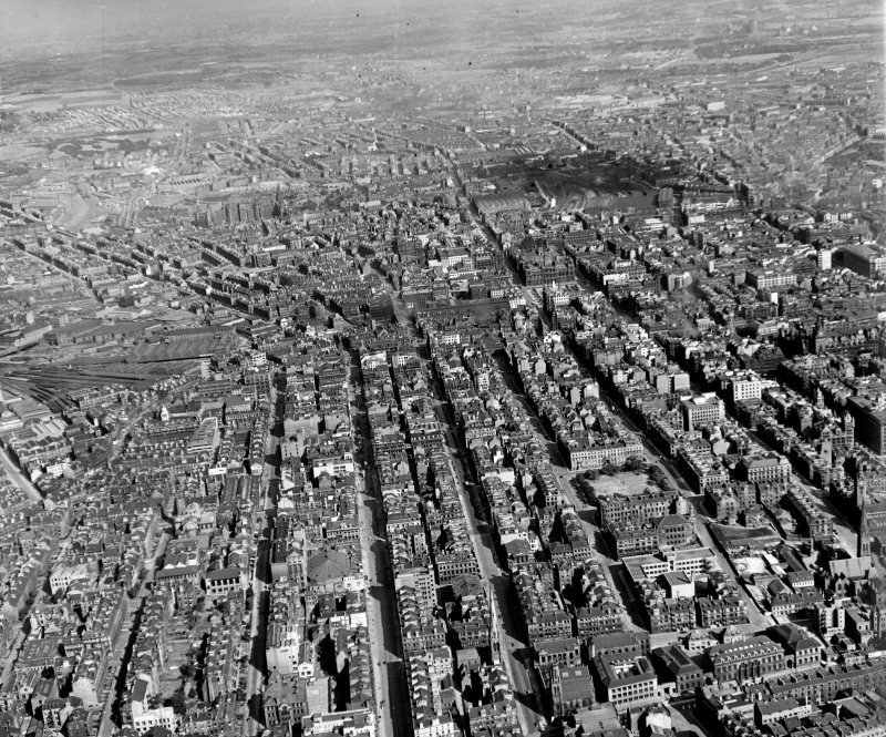 Looking up Sauchiehall Street from West Glasgow, Lanarkshire, Scotland. Oblique aerial photograph taken facing East.