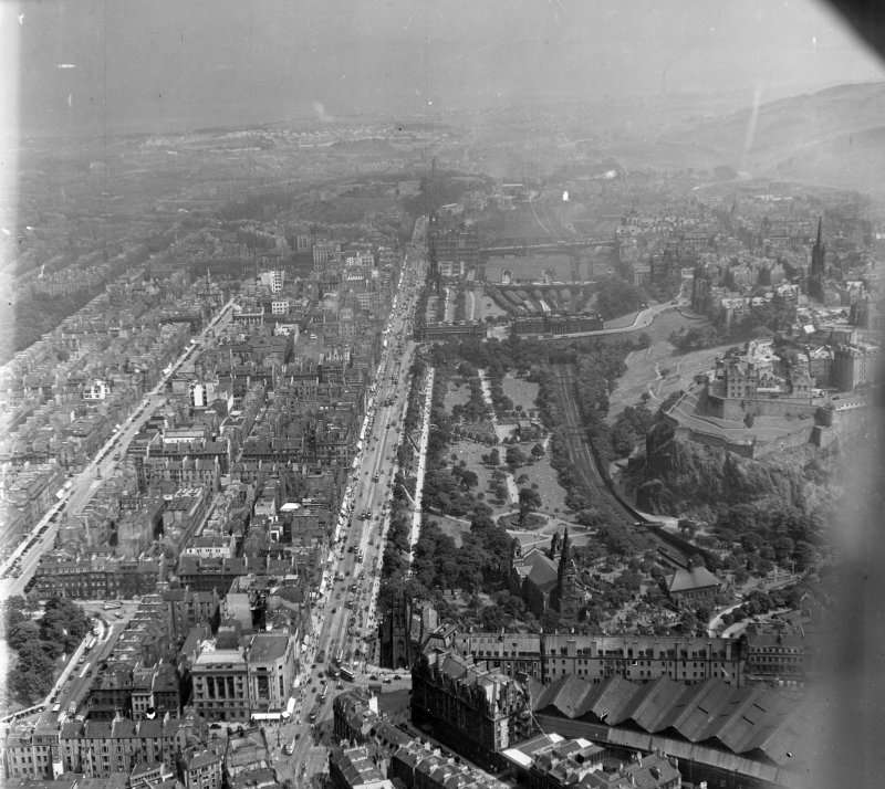 Princes Street Edinburgh, Midlothian, Scotland. Oblique aerial photograph taken facing East.