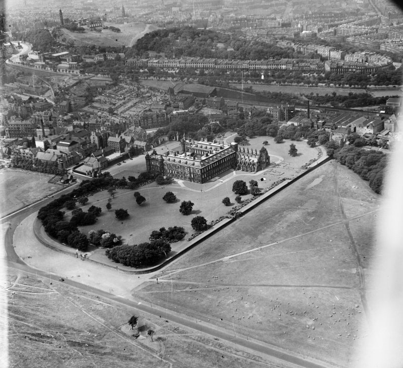 Holyrood Edinburgh, Midlothian, Scotland. Oblique aerial photograph taken facing North/West.