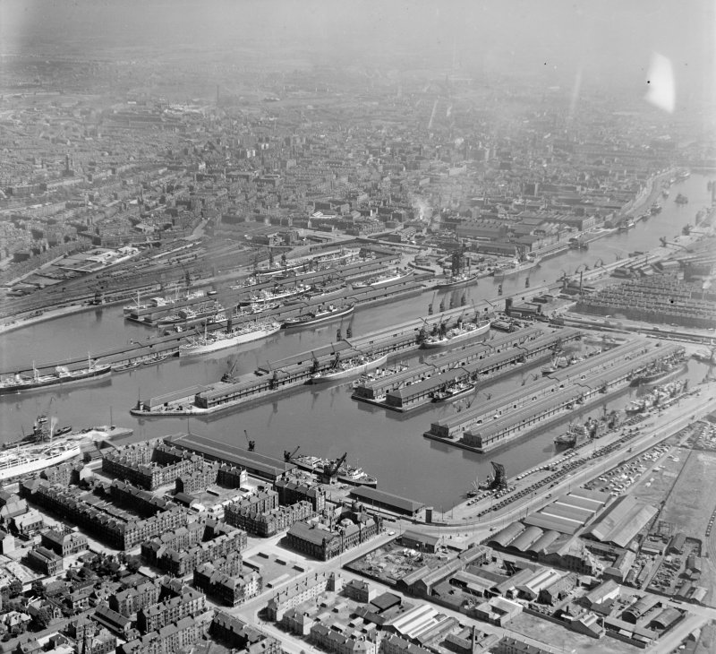 Good view of Docks, Glasgow Glasgow, Lanarkshire, Scotland. Oblique aerial photograph taken facing North/East.