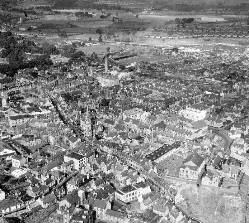 General View Falkirk, Stirlingshire, Scotland. Oblique aerial photograph taken facing North/West.