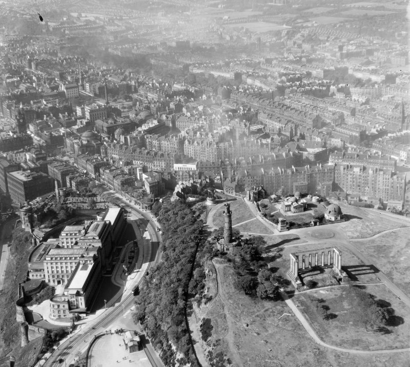 Calton Hill Edinburgh, Midlothian, Scotland. Oblique aerial photograph taken facing West.