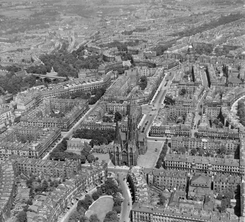St Mary's Cathedral from South/West Edinburgh, Midlothian, Scotland. Oblique aerial photograph taken facing North/East.