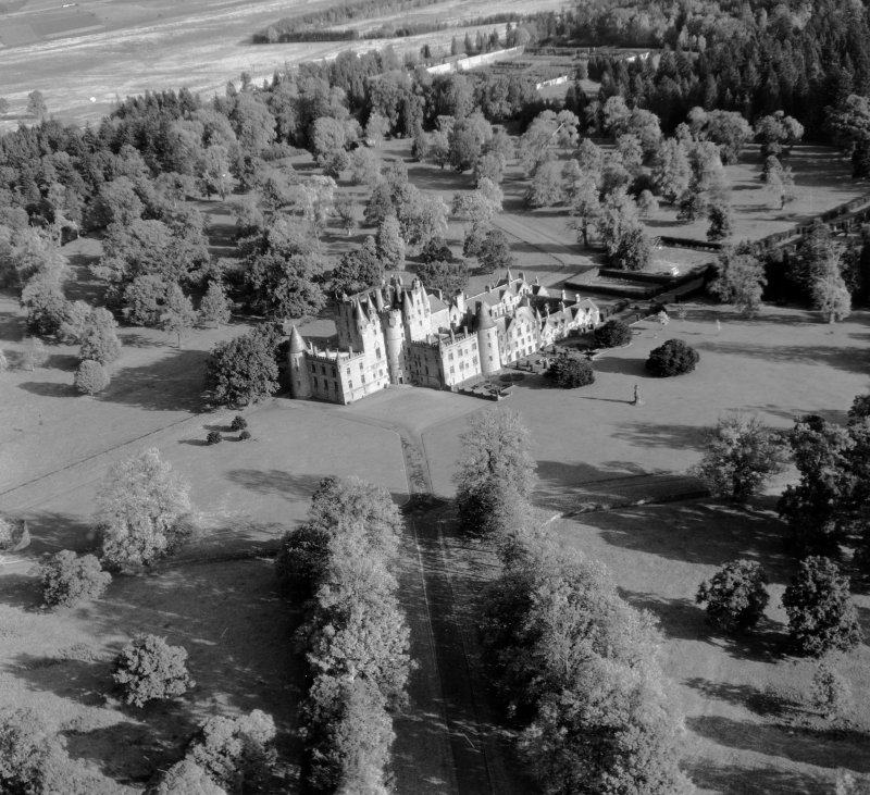 Glamis Castle Glamis, Angus, Scotland. Oblique aerial photograph taken facing North.