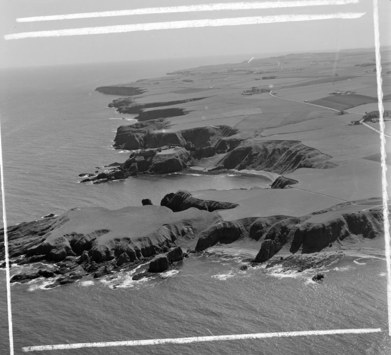 Stonehaven coastline Dunnottar, Kincardineshire, Scotland. Oblique aerial photograph taken facing South. This image was marked by AeroPictorial Ltd for photo editing.