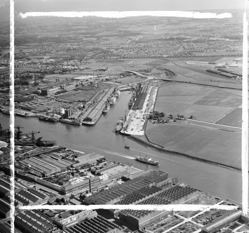 King George V Dock from NW Govan, Lanarkshire, Scotland. Oblique aerial photograph taken facing South. This image was marked by AeroPictorial Ltd for photo editing.