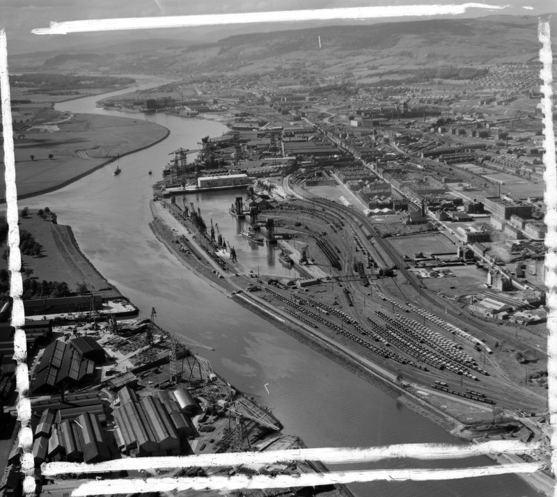 Rothesay Dock Renfrew, Lanarkshire, Scotland. Oblique aerial photograph taken facing West. This image was marked by AeroPictorial Ltd for photo editing.