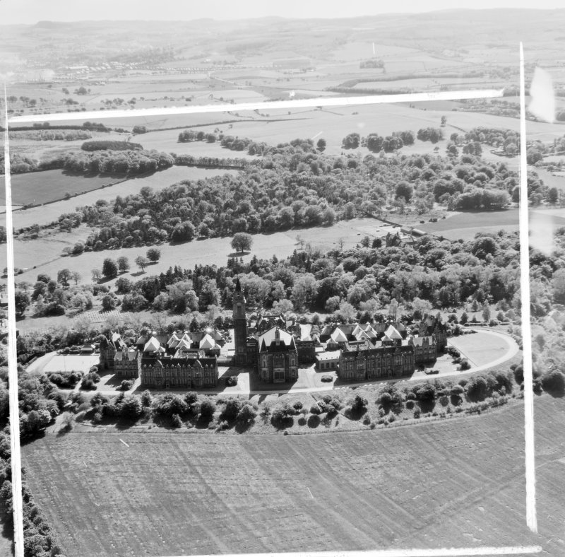 Leverndale Hospital, 510 Crookston Road Lochwinnoch, Renfrewshire, Scotland. Oblique aerial photograph taken facing South/West. This image was marked by AeroPictorial Ltd for photo editing.
