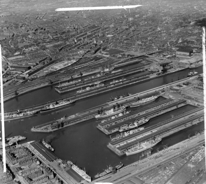 Prince's and Queen's Docks Glasgow, Lanarkshire, Scotland. Oblique aerial photograph taken facing East.