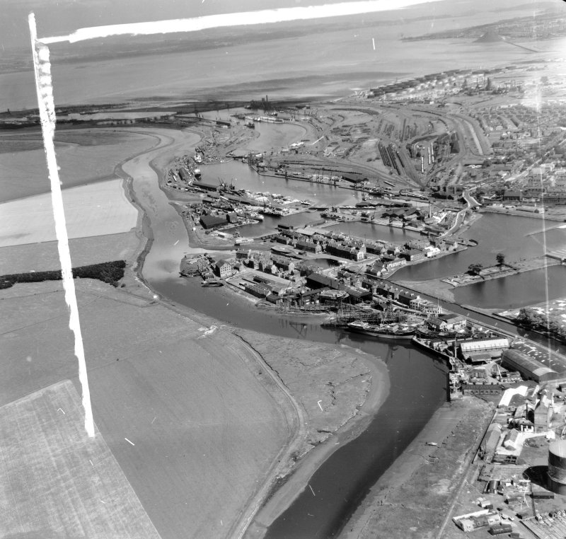 General View of docks Grangemouth, Stirlingshire, Scotland. Oblique aerial photograph taken facing East. This image was marked by AeroPictorial Ltd for photo editing.
