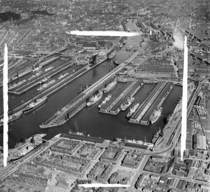 Queen's and Prince's Docks looking East Glasgow, Lanarkshire, Scotland. Oblique aerial photograph taken facing East. This image was marked by AeroPictorial Ltd for photo editing.
