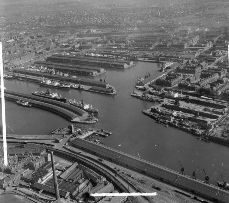 Queen's and Prince's Docks Glasgow, Lanarkshire, Scotland. Oblique aerial photograph taken facing South. This image was marked by AeroPictorial Ltd for photo editing.