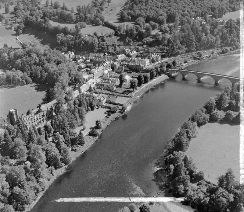 Perthshire, Bridge over River Tay and Cathderal Ruins Dunkeld and Dowally, Perthshire, Scotland. Oblique aerial photograph taken facing East. This image was marked by AeroPictorial Ltd for photo editing.