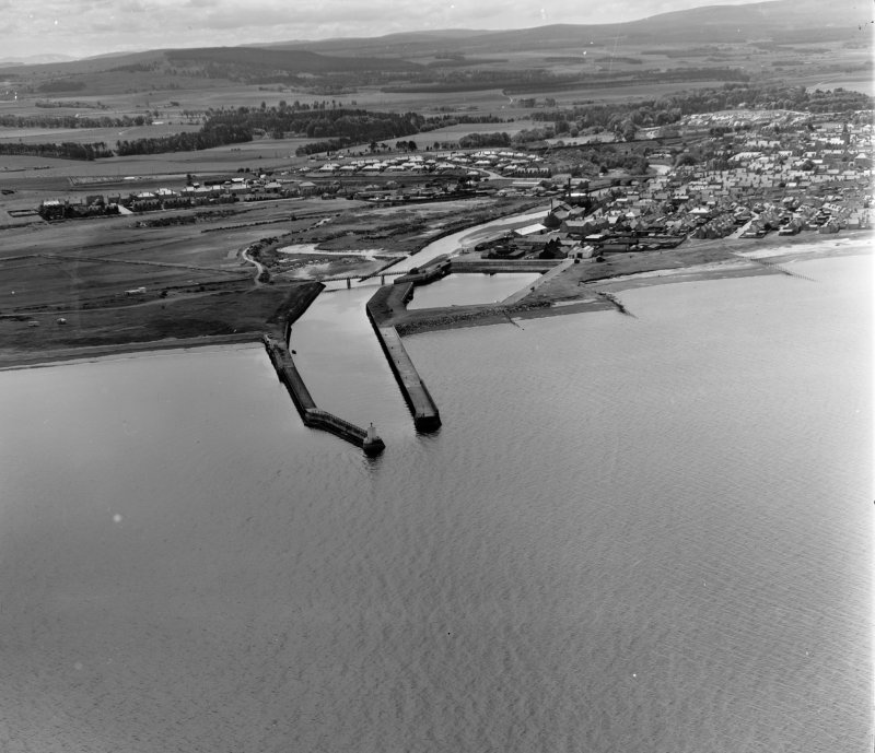 Entrance to Harbour Nairn, Nairn, Scotland. Oblique aerial photograph taken facing South.