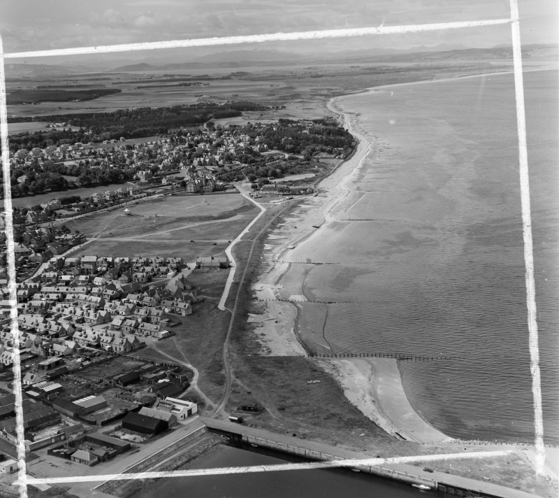 General View Nairn, Nairn, Scotland. Oblique aerial photograph taken facing West. This image was marked by AeroPictorial Ltd for photo editing.