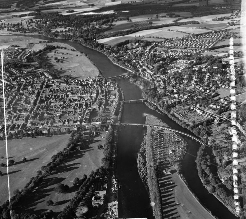 General View Kinnoull, Perthshire, Scotland. Oblique aerial photograph taken facing North. This image was marked by AeroPictorial Ltd for photo editing.