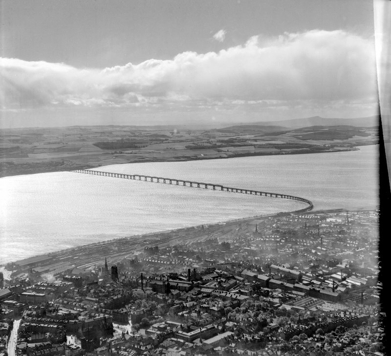 Tay Bridge Dundee, Angus, Scotland. Oblique aerial photograph taken facing South/West.