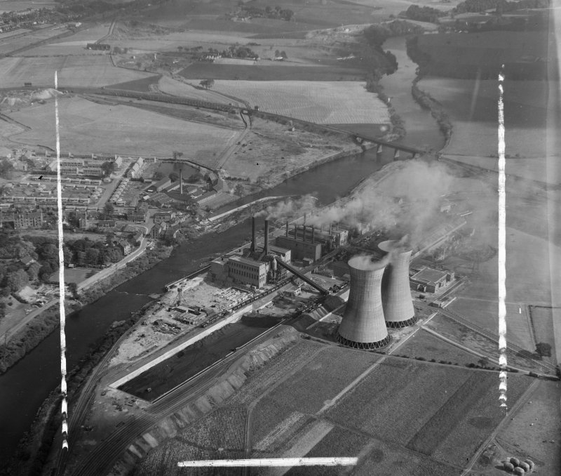 BEA, Clyde Mill Generating Station Old Monkland, Lanarkshire, Scotland. Oblique aerial photograph taken facing North/East. This image was marked by AeroPictorial Ltd for photo editing.