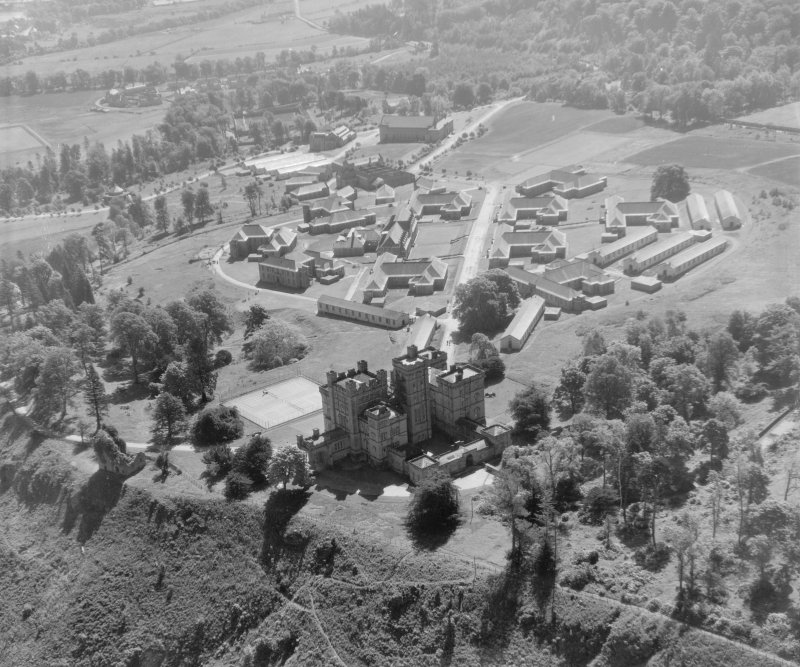 Castle Institution, Lennoxtown Campsie, Stirlingshire, Scotland. Oblique aerial photograph taken facing East.