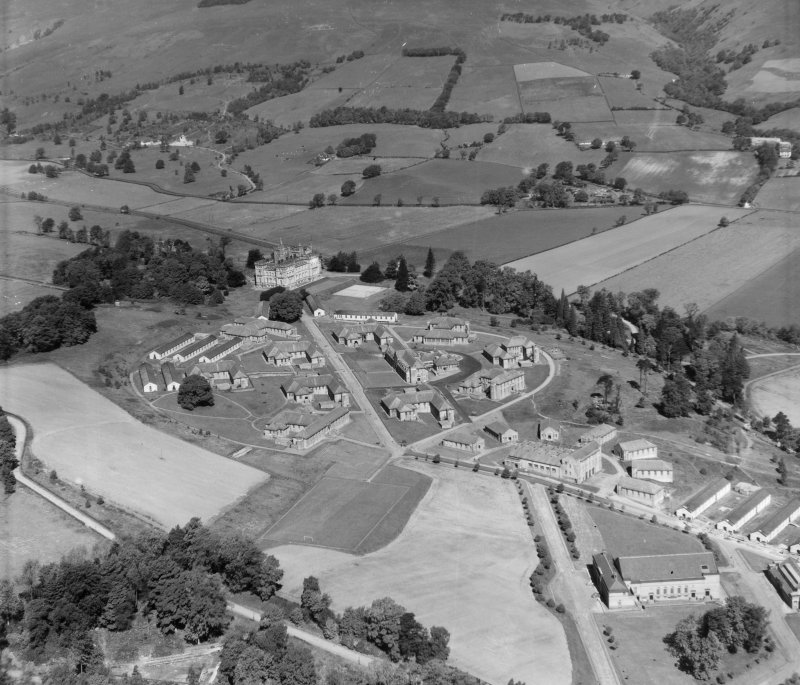 Lennoxtown Castle Institution Campsie, Stirlingshire, Scotland. Oblique aerial photograph taken facing North/West.