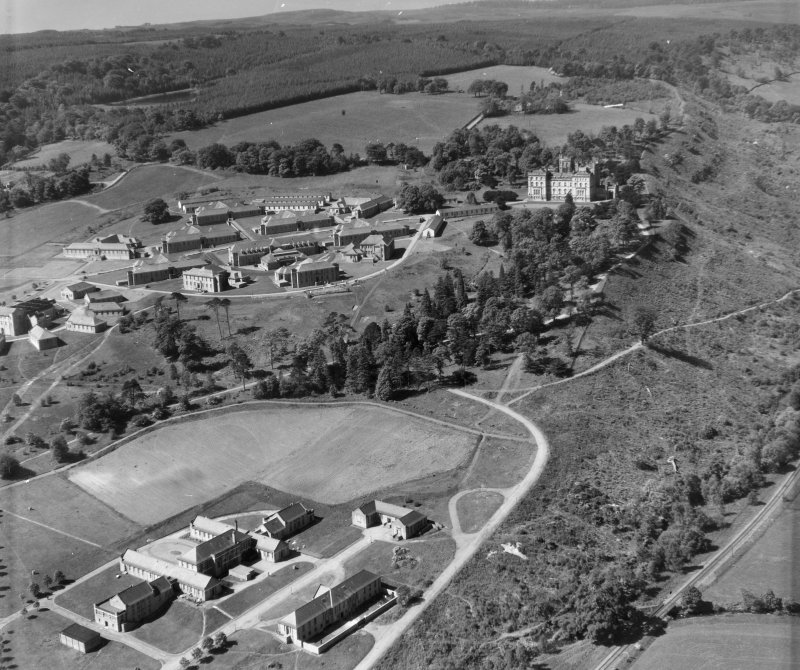 Lennoxtown Castle Institution, Lennoxtown Campsie, Stirlingshire, Scotland. Oblique aerial photograph taken facing South/West.