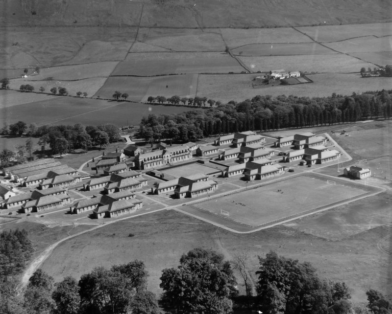 Lennoxtown Castle Institution, Lennoxtown Campsie, Stirlingshire, Scotland. Oblique aerial photograph taken facing North/East.