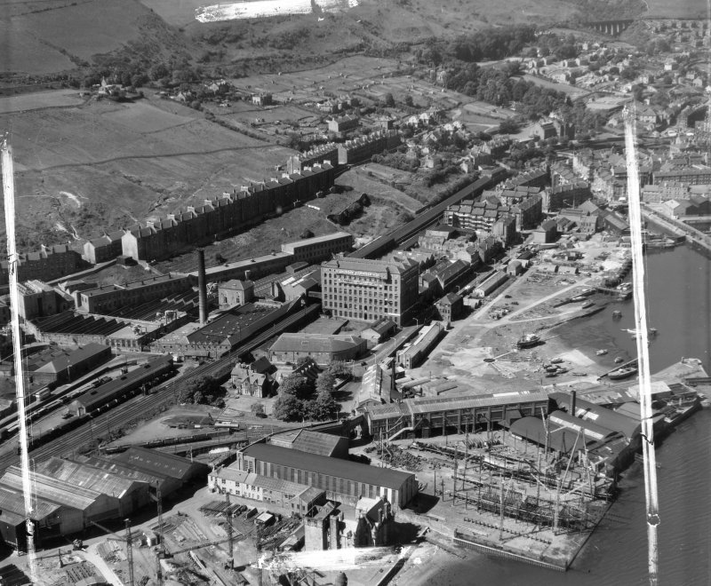 Gourock Ropeworks Co Ltd, Port Glasgow Greenock, Renfrewshire, Scotland. Oblique aerial photograph taken facing West. This image was marked by AeroPictorial Ltd for photo editing.
