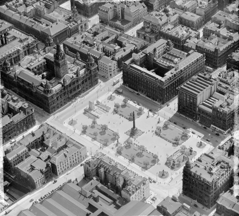 George Square Glasgow, Lanarkshire, Scotland. Oblique aerial photograph taken facing South/East.