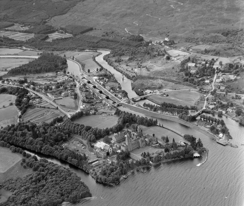 Neptune's Staircase, Banavie (Fort Augustus from over Loch Ness) Boleskine and Abertarff, Inverness-Shire, Scotland. Oblique aerial photograph taken facing West.